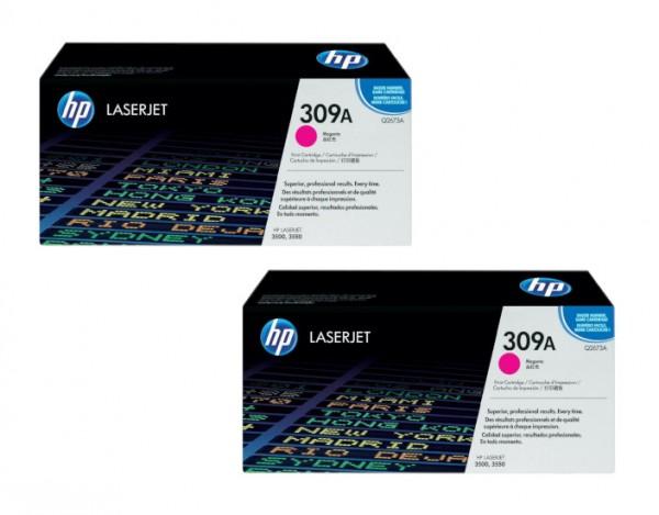 2x Original HP Toner 309A Q2673A magenta für LaserJet 3500 3550 Neutrale Schachtel