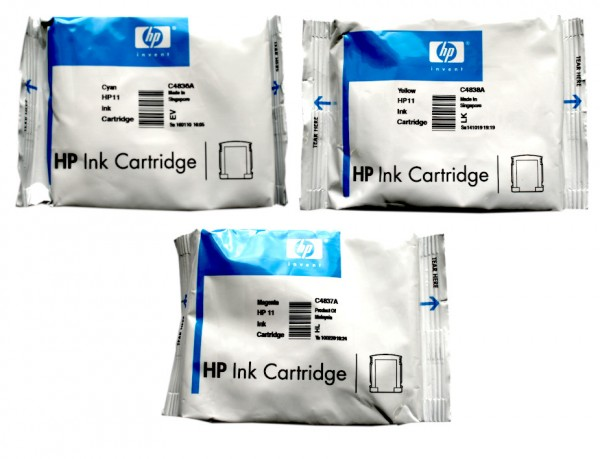 Original HP Tinte 11 C4836/7/8A für OfficeJet 9110 9120 9130 Pro K 850 Blister