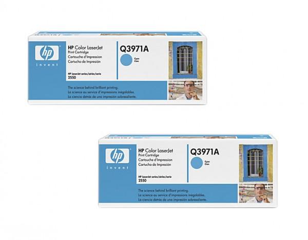 2x Original HP Toner Q3971A 123A für Color Laserjet 2550 2820 Neutrale Schachtel