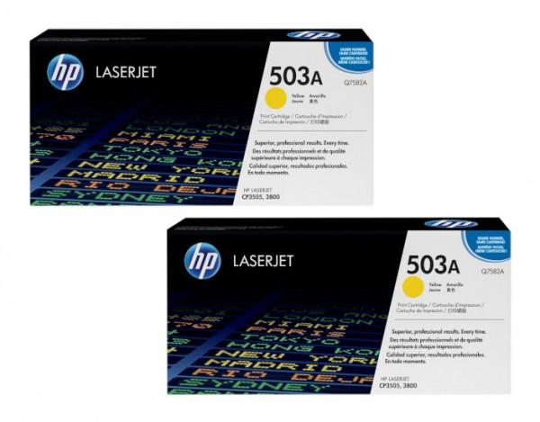 2x Original HP Toner 503A Q7582A für LaserJet CP3505 3800 Neutrale Schachtel