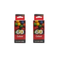 2 x Original Lexmark 60 Tinte Patrone 17G0060 farbig für Z 12 32 22