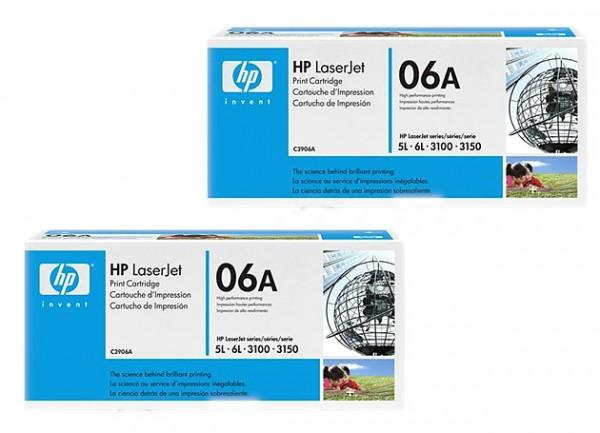 2x Original HP Toner 06A C3906A für LaserJet 5L 6L 3100 3150 Neutrale Schachtel