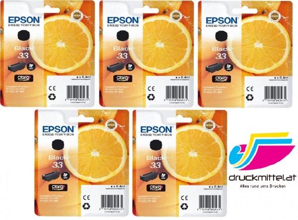5 x Original Epson 33 Tinte Patrone black XP540 XP640 XP900 XP530 XP630 XP635