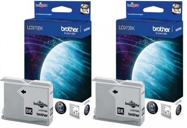 2x Original Brother Tinte LC-970BK für DCP 135 150 153 157 MFC 235 260