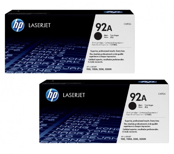 2x Original HP Toner 92A C4092A für LaserJet 1100 3200 3220 Neutrale Schachtel