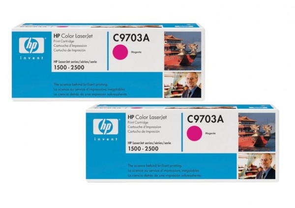 2x Original HP Toner C9703A magenta für Color LaserJet 1500 2500 B-Ware