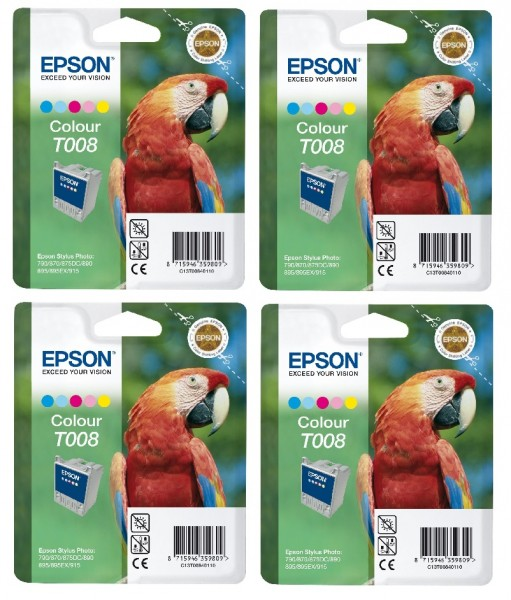 4x Original Epson T008 Tinte Patrone für Stylus Photo 785 790 870 875 890 895