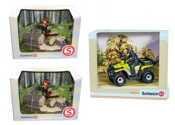 Schleich Quad/ Waldarbeiter Aktion 3 Spielzeuge 41806 42051 SET