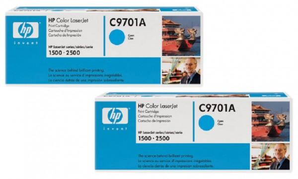 2x Original HP Toner C9701A 121A für Color Laserjet 1500 1500L 1500LXI Neutrale Schachtel