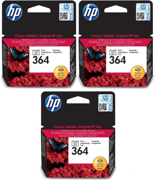 3x Original HP 364 Foto-schwarz Tinte Patrone für Deskjet D 5445 5460 MHD