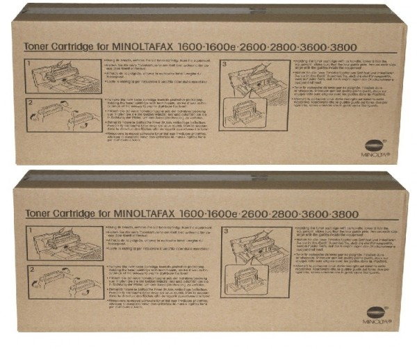 2x Original Konica Minolta Toner 4152-613 schwarz für Fax 1600 B-Ware