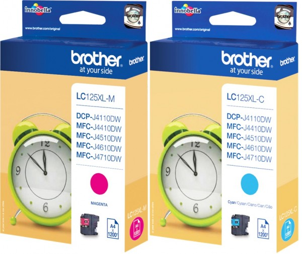 2x Original Brother LC-125XL Tinte Patronen cyan magenta MFC-J 4410 6520 6720