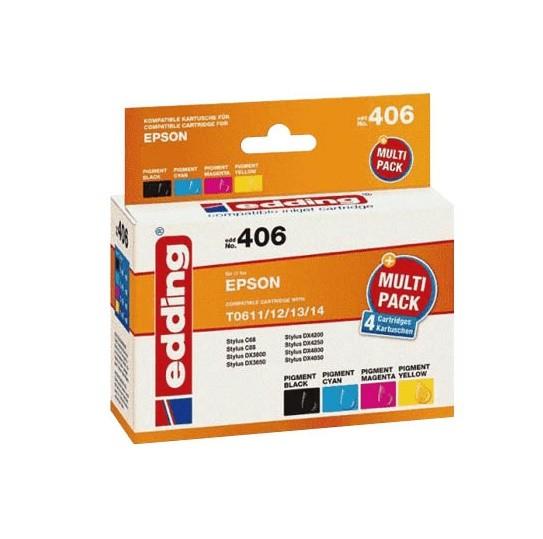 Original Edding Tinte Patrone 406 für Epson T0615 Stylus D68 D88 DX3800 DX3850