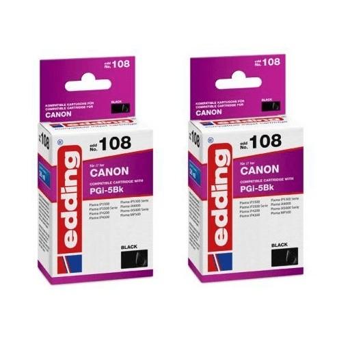 2x Original Edding Tinte Patrone 108 für Canon PGI-5 BK Pixma IP 3300 3500 4200