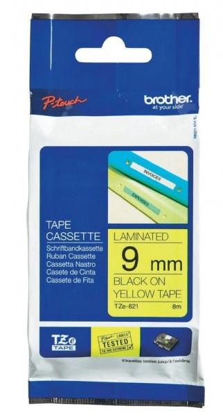 Brother TZE-621 9mm gelb/schwarz OEM