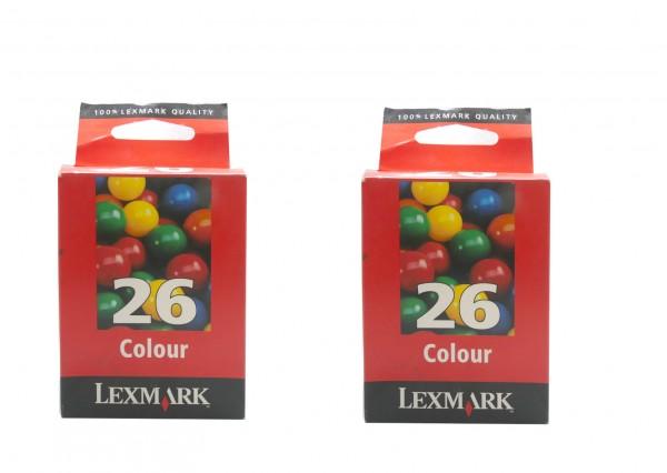 2x Original Lexmark 26 Tinte Patronen für X2200 X1200 Z500 Z600 i3 X74 X75