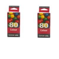 2x Original Lexmark 80 Tinte Patronen für Colorjetprinter 3200 5000 5700 7000
