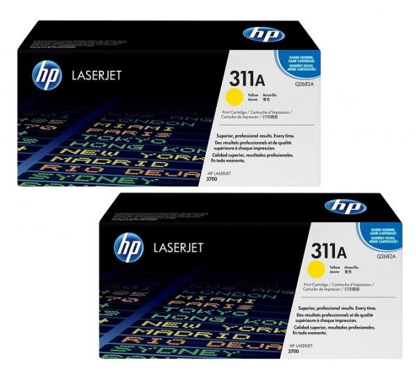 2x Original HP Toner 311A Q2682A gelb für Color Laserjet 3700 Neutrale Schachtel