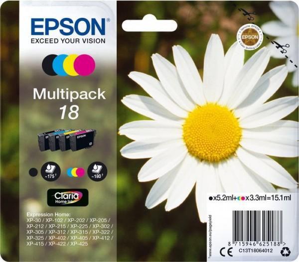 Original Epson T1806 Multipack Schwarz Cyan Magenta Gelb C13T18064012