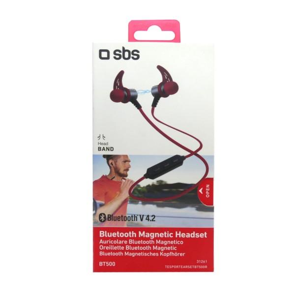 46352_SBS_Magnetische_Kopfhörer_Headset_TESPORTEARSETBT500R_kabellos_Bluetooth_Earset_Rot