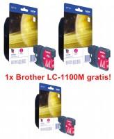 2x Original Brother Tinte Patrone LC-1100M magenta für DCP 185 383 385 387 395