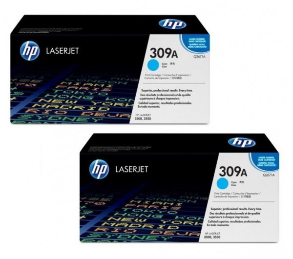 2x Original HP Toner 309A Q2671A cyan für LaserJet 3500 3550 Neutrale Schachtel
