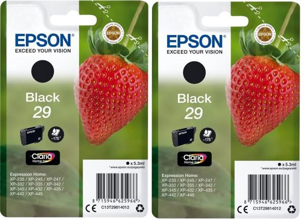 2x Original Epson 29 Tinte Patrone schwarz XP235 XP332 XP335 XP432 XP435 XP245 XP342