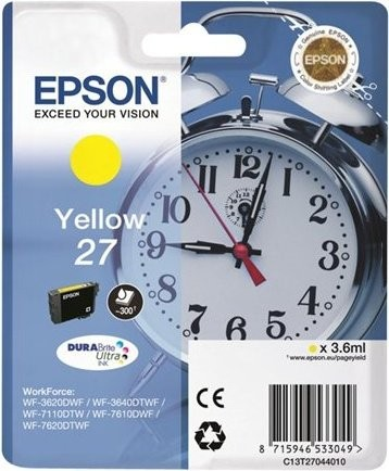 Original Epson 27 Tinte Patrone gelb für WorkForce WF 3620 3640 7110 7600 7610 7620