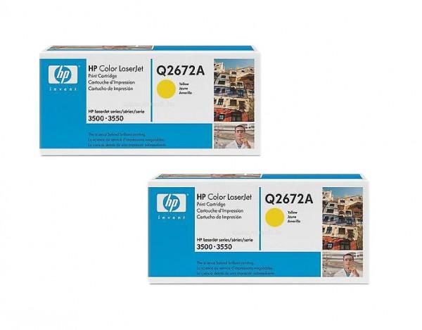 2x Original HP Toner 309A Q2672A gelb für LaserJet 3500 3550