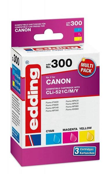 Original Edding Tinte Patrone 300 für Canon CLI-521 Multi Pixma IP 4700 MP 540 620