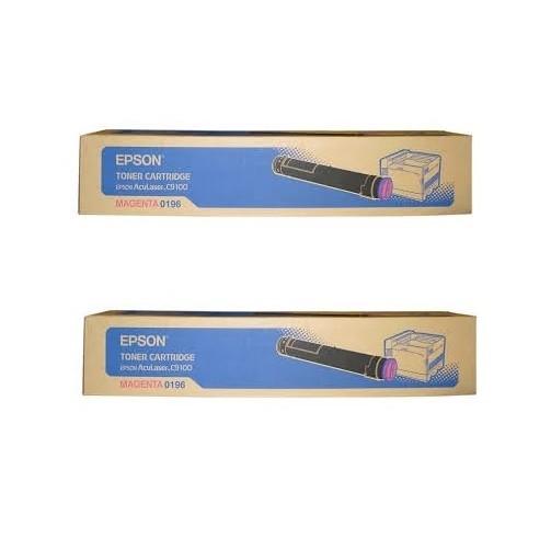 2x Original Epson Toner C13S050196 magenta für Aculaser C9100 C9100B B-Ware