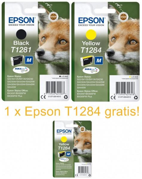 2x Original Epson T1281 T1284 STYLUS Tinten Patronen BX305F BX305FW SX125 SX130 SX230W SX235W
