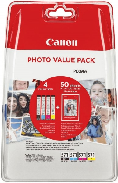 Original Canon Tinte Patronen CLI-571 C/M/Y/BK Photo Value Pack + PP-201 Fotopapier