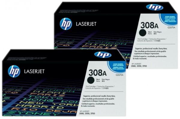 2x Original HP Toner 308A Q2670A für LaserJet 3500 3550 3700 B-Ware