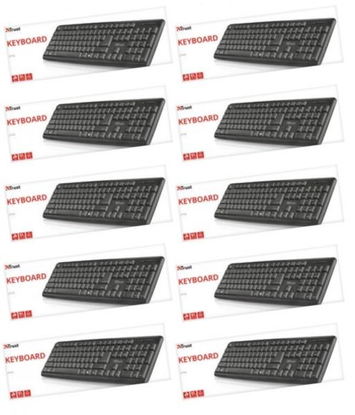 10x Trust Ziva Keyboard USB-Tastatur Schwarz Spritzwassergeschützt